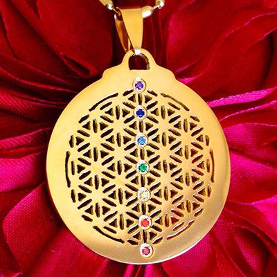 pendentif fleur de vie 7 chakras